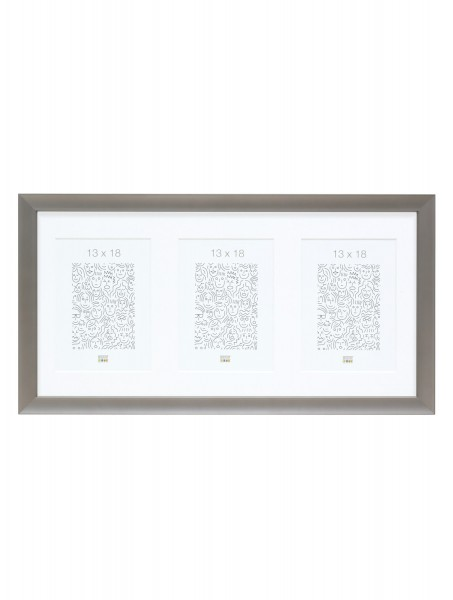 Aluminium Galerierahmen Grey für 3 Bilder inkl. Passepartout