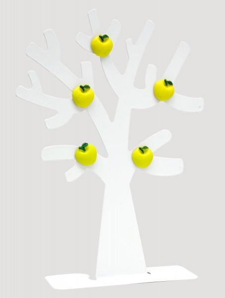 Metall Fotobaum in weiß mit 5 Apfel Magneten