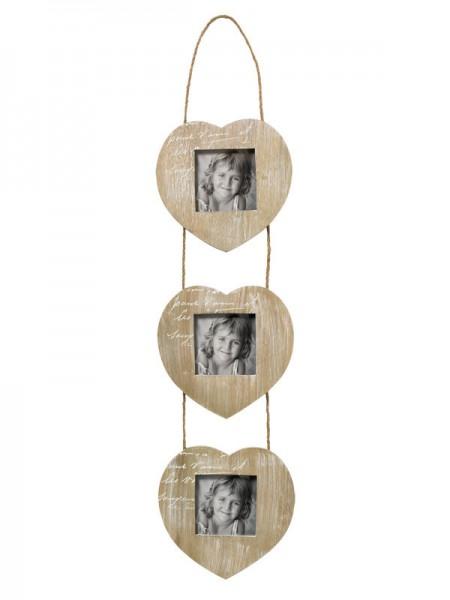 Galerierahmen Le Coeur mit Kordelaufhänger für 3 Fotos 9x9 cm