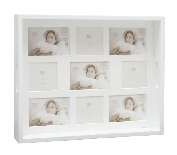 Serviertablett Weiss für 9 Fotos 5x(9x13) und 4x(9x9)