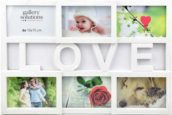 Collagerahmen Love in weiss für 6 Bilder