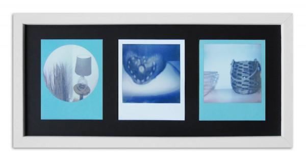 Polaroid Galerierahmen für 3 Sofortbilder - Typ 600 inkl. Passepartout / weiss