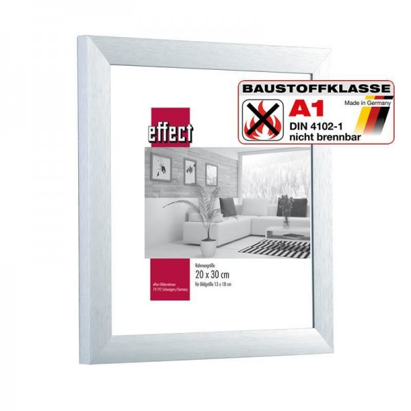 Brandschutzrahmen Alu gebürstet S3 silber / Klassifiziert A1