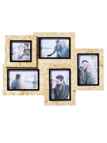 Holz Galerierahmen CHIP natur/ schwarz für 5 Fotos