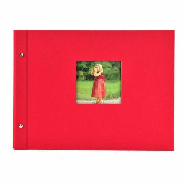 Schraubalbum rot mit schwarzen Seiten