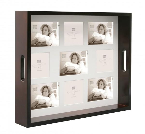 Serviertablett Braun für 9 Fotos 5x(9x13) und 4x(9x9)