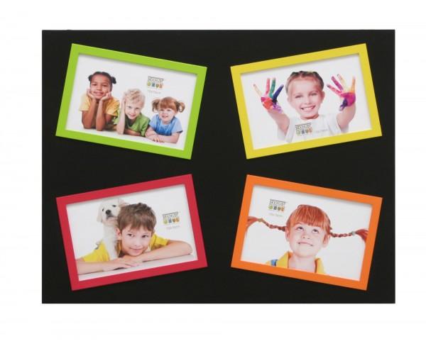 Galerie Bilderrahmen Victor schwarz mit 4 farblichen kleinen Rahmen