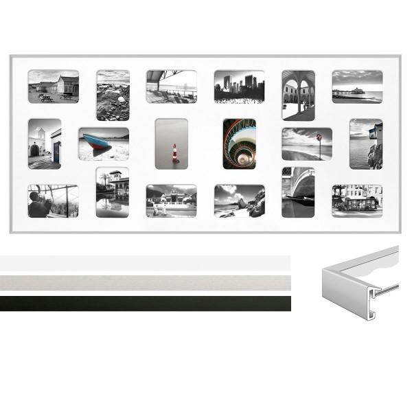 Alu Galerierahmen Pixel 3er Set für 18 Fotos im Format 10x15 cm