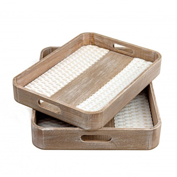 Deko-Tablett braun/weiß in 2 Größen