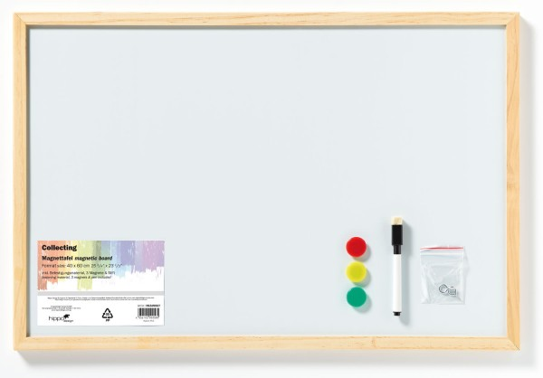Magnetboard Magnettafel, Metall mit Holzrahmen natur 40x60 cm