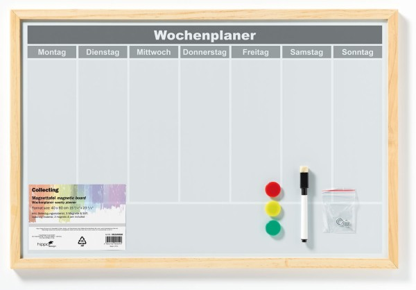 Magnetboard Wochenplaner, Metall mit Holzrahmen natur 40x60 cm, beschreibbar