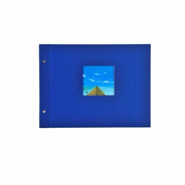 Schraubalbum blau mit weißen Seiten
