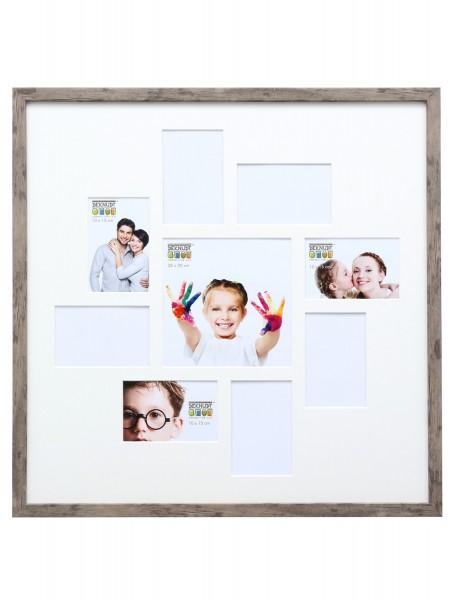 Collage Bilderrahmen Lucas für 9 Bilder / Grau-Beige