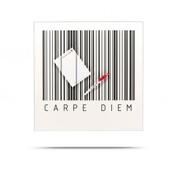 BARCODE Board - Klemmwand CARPE DIEM, MDF mit Rundgummis 50x50 cm
