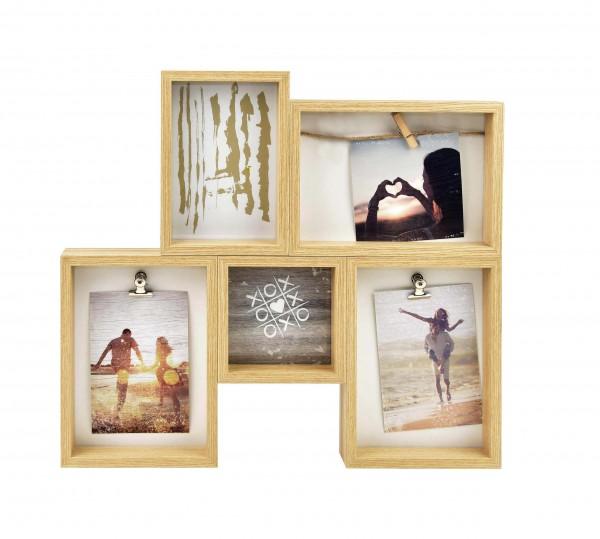 Collagerahmen mit 3 Clips für 5 Bilder