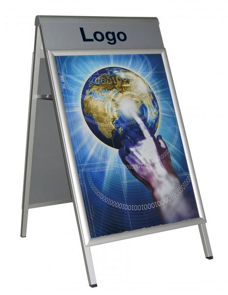 Alu Kundenstopper PREMIUM PLUS mit Logoplatte