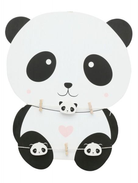 Holzwand Panda mit Wäscheklammer