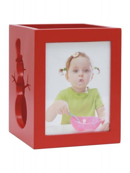 Teelichthalter in rot für 2 Bilder mit Schneemannmuster