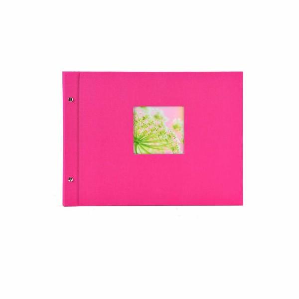 Schraubalbum pink mit schwarzen Seiten