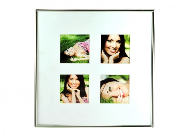 Metall Fotorahmen Fine für 4 Bilder - silber