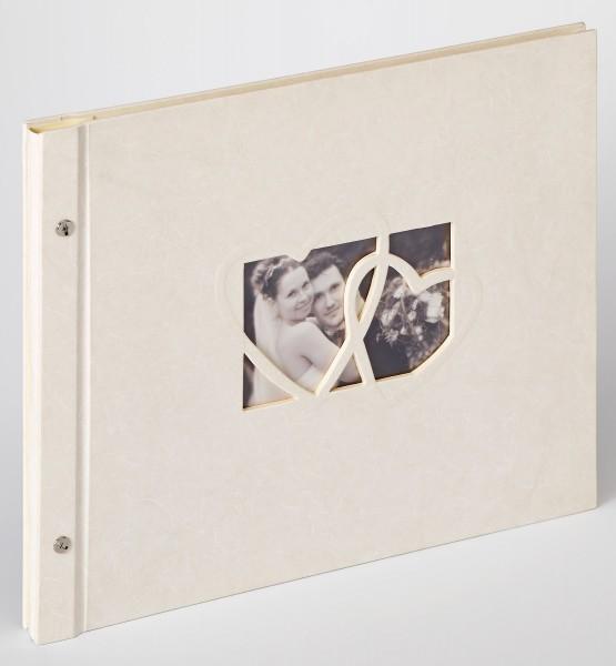 Buchschraubenalbum Sinfonia Wedding Heart, creme, 38x31 cm