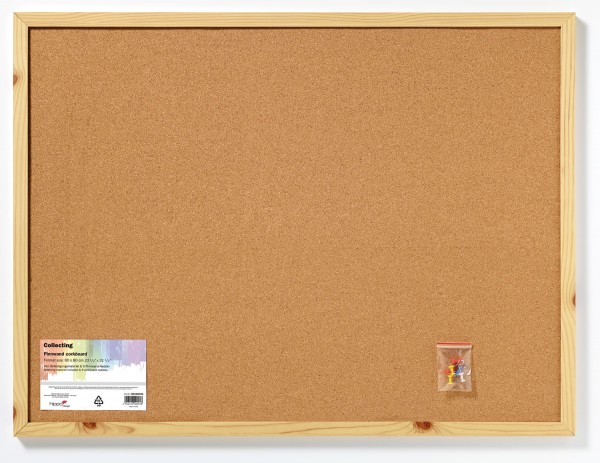 Memoboard Pinnwand, Kork, Holzrahmen natur 60x80 cm