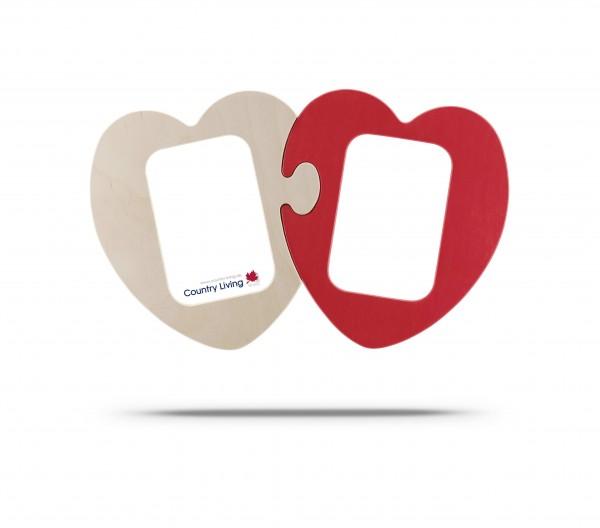 Puzzle Herzen 2-teilig für 2 Fotos 9x13 cm natur/rot
