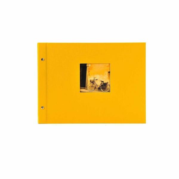Schraubalbum gelb mit schwarzen Seiten