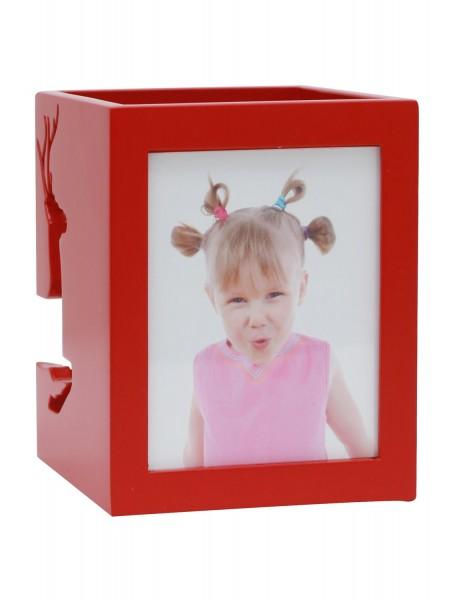 Teelichthalter in rot für 2 Bilder mit Rentiermuster