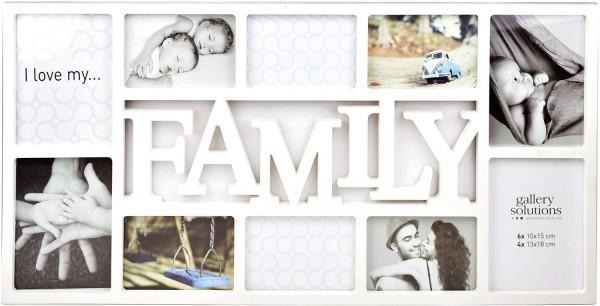 Collagerahmen Family in weiß für 10 Bilder