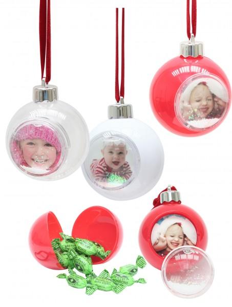 12 Weihnachtskugeln mit Schnee und Glitzer für Bild 5x5