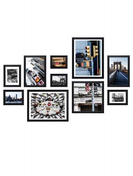 Bilderwand Louis für 10 Bilder in schwarz