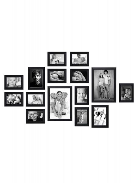 Bilderwand Louis für 15 Bilder in schwarz