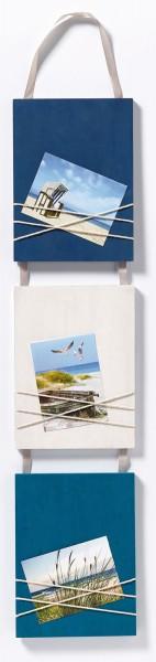 Holz Galerierahmen La Casa mit Schleifenaufhänger 3x 8x11cm blau/ weiss