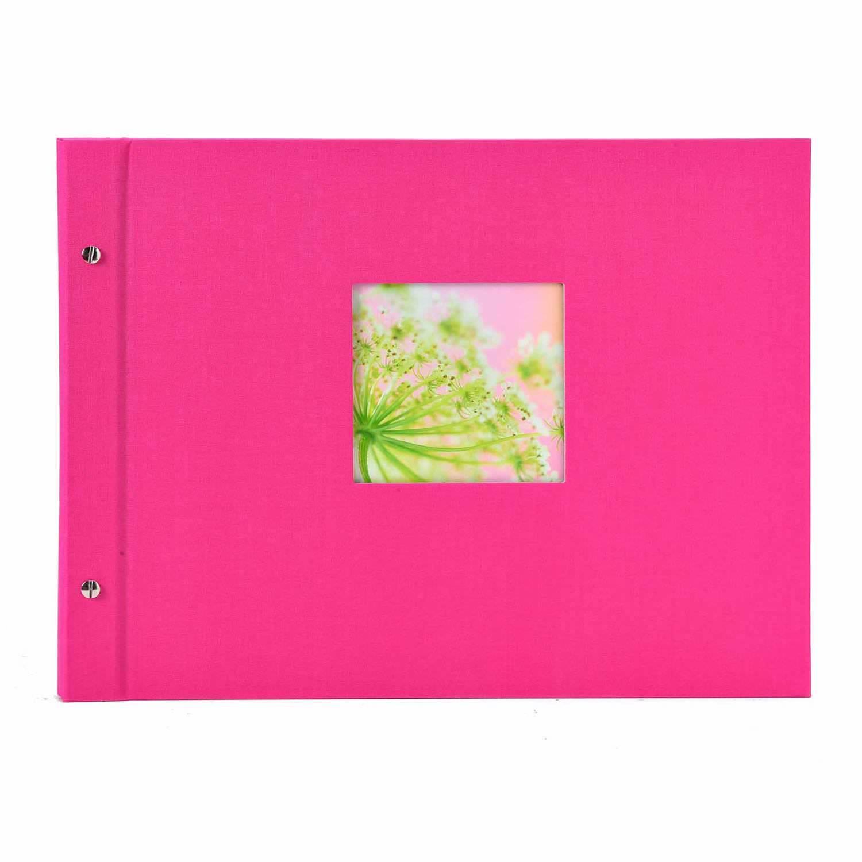 Schraubalbum pink mit Ausstanzung im Format 11x11 mit schwarzen ...