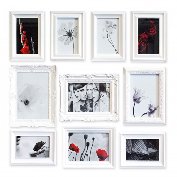 Bilderrahmen-Set Ornament weiß für 10 Bilder