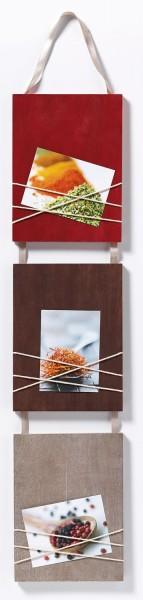 Holz Galerierahmen La Casa mit Schleifenaufhänger 3x 8x11cm rot/ braun