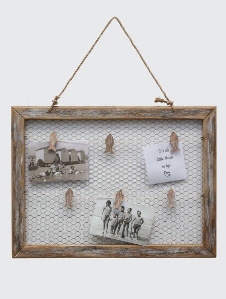 Holz Bilderrahmen Rustique aus Treibholz mit Hühnerdraht