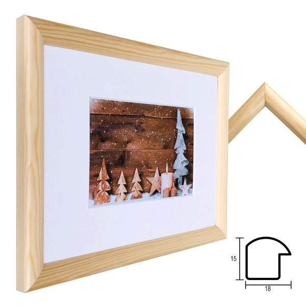 Holz Bilderrahmen Profil 45 mit Passepartout