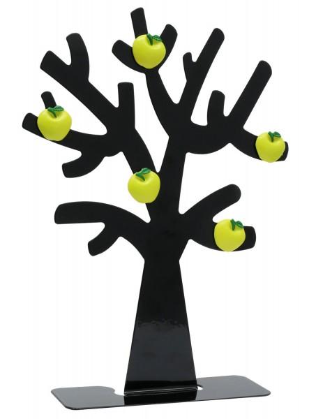 Metall Fotobaum in schwarz mit 5 Apfel Magneten