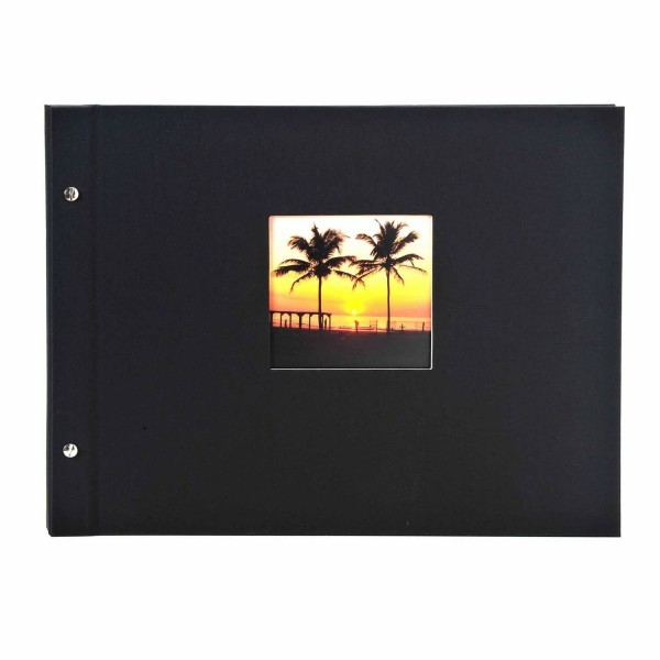 Schraubalbum schwarz mit schwarzen Seiten