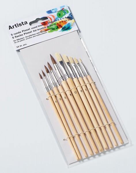 Pinsel Set Artista 10-teilig für Öl, Acryl und Wasserfarben