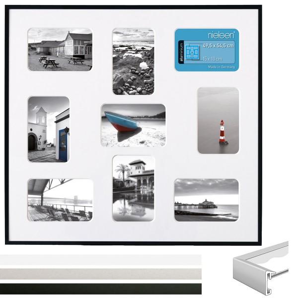 Alu Galerierahmen Pixel 3er Set für 9 Fotos im Format 10x15 cm