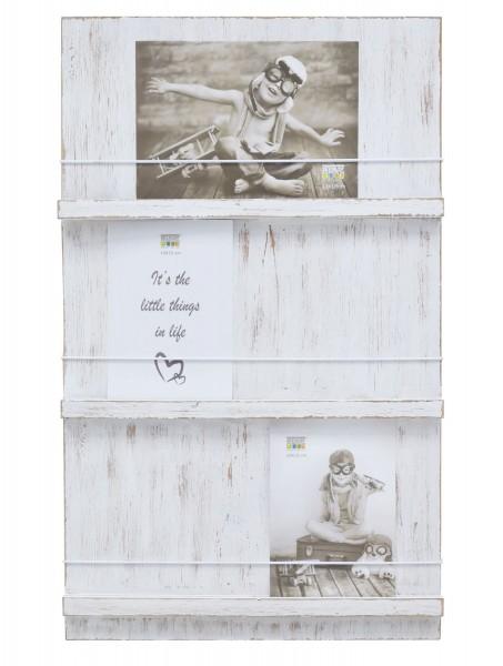 Holz Bildhalter Austria mit Schnüre, 3 Ebenen weiss gemalt