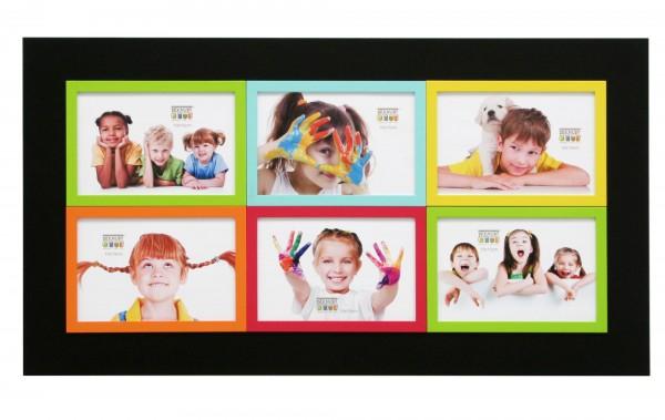 Galerie Bilderrahmen Victor schwarz mit 6 farblichen kleinen Rahmen