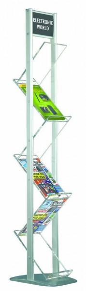 Boden Prospektständer ZICK ZACK 2-Beinig mit Top Schild