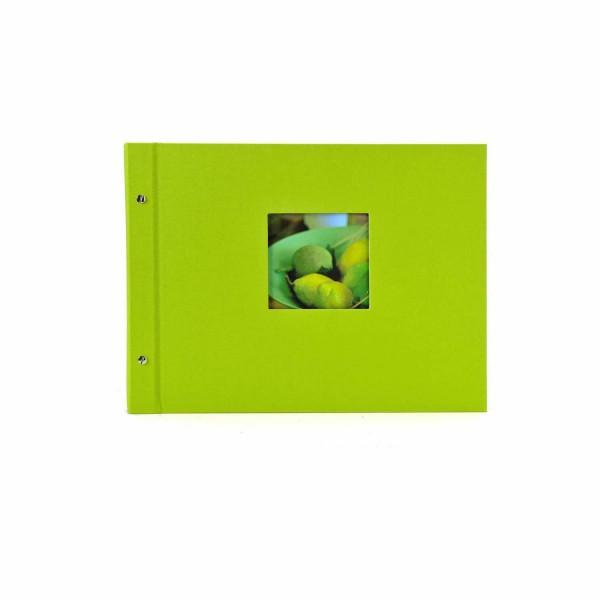 Schraubalbum grün mit schwarzen Seiten