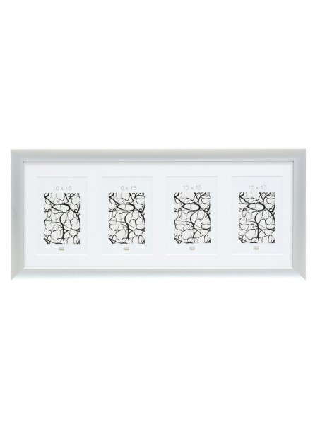 Aluminium Galerierahmen Silver für 4 Bilder inkl. Passepartout