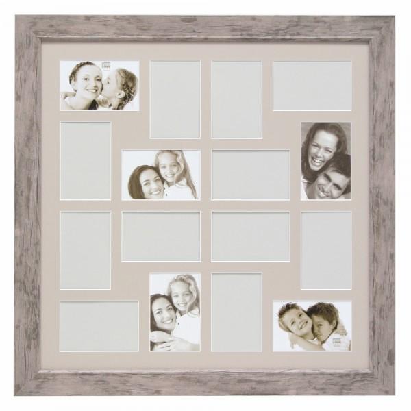 Collage Bilderrahmen Marie für 16 Bilder / grau-beige