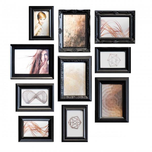 Bilderrahmen-Set Ornament schwarz für 10 Bilder-Copy